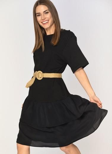 Loves You Eteği Kat Volanlı Elbise Siyah